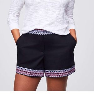 LOFT NWT Plus Border Embroidered Riviera Shorts 22